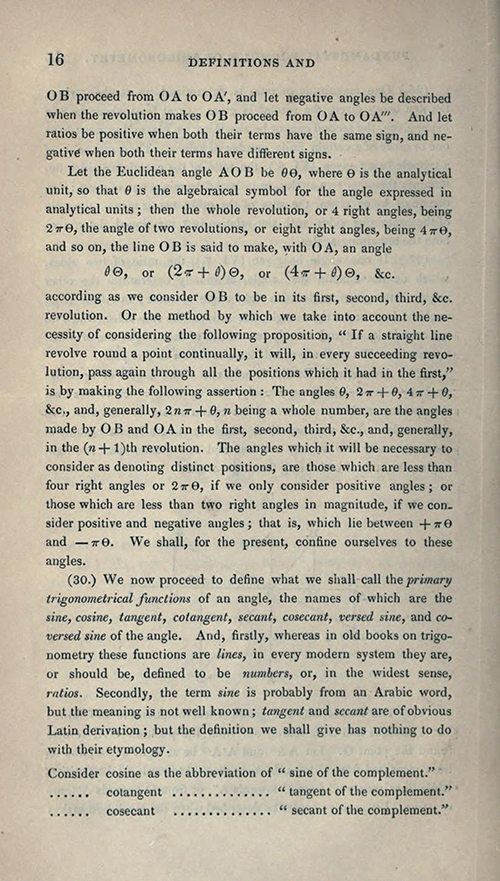 Page 16 of Elements of Trigonometry and Trigonometrical Analysis by Augustus De Morgan