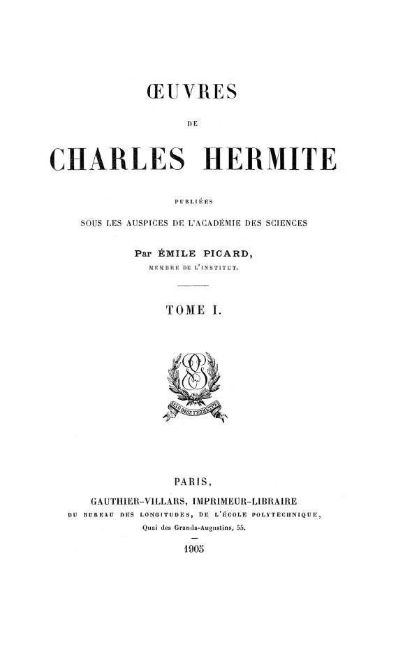 Title page of first volume of Œuvres de Charles Hermite, 1905