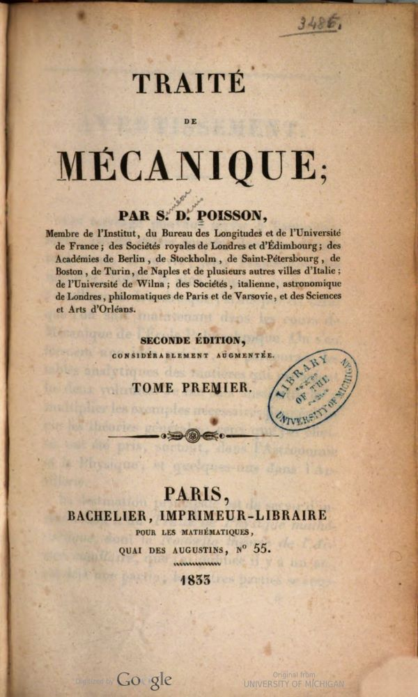 Title page of Traité de mécanique by Siméon-Denis Poisson, second edition, 1833