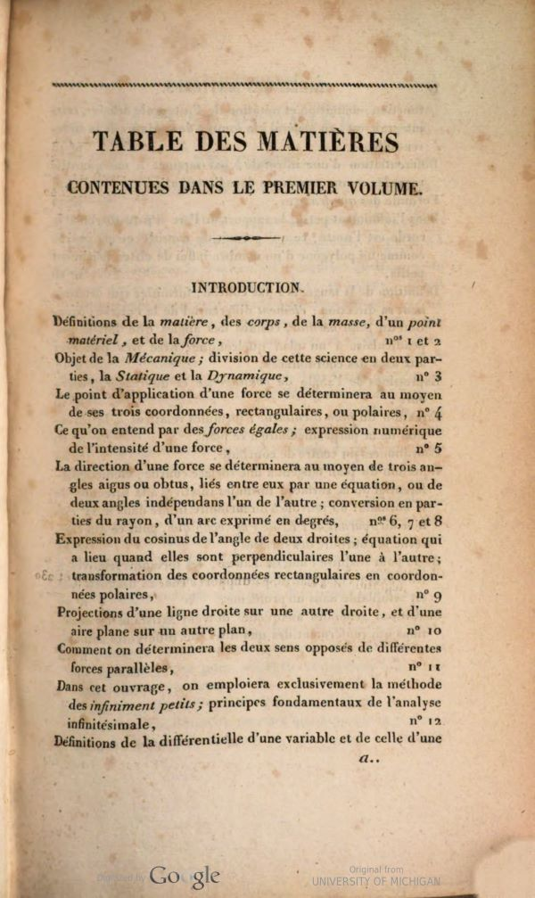 First page of table of contents from Traité de mécanique by Siméon-Denis Poisson, second edition, 1833