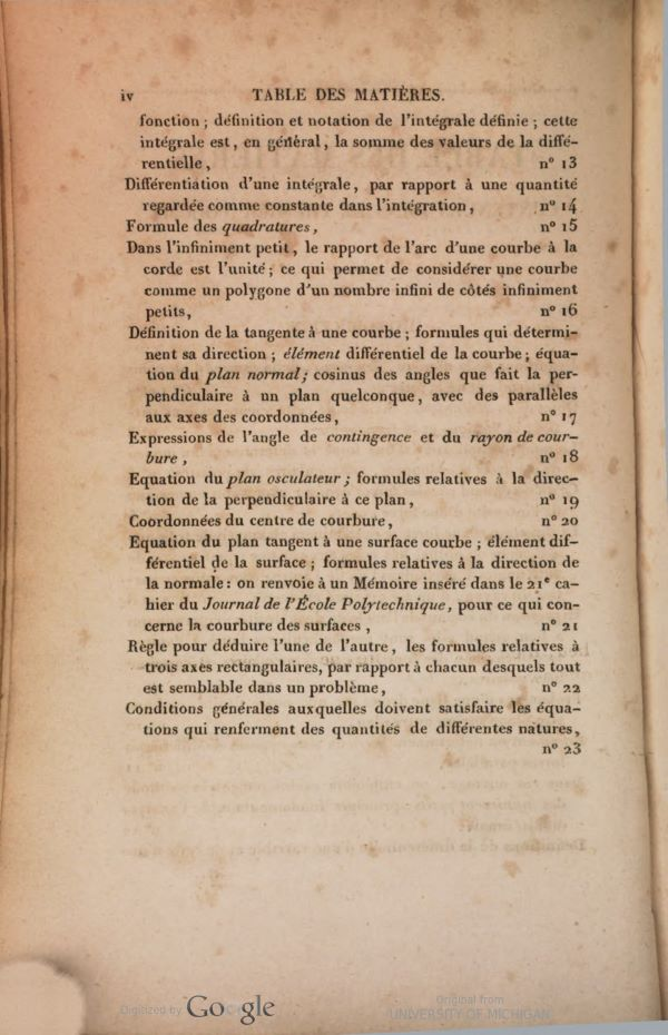Second page of table of contents from Traité de mécanique by Siméon-Denis Poisson, second edition, 1833
