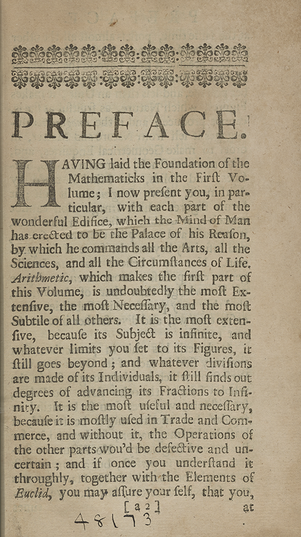 Page 22 of A Complete Course of the Mathematicks (1712).