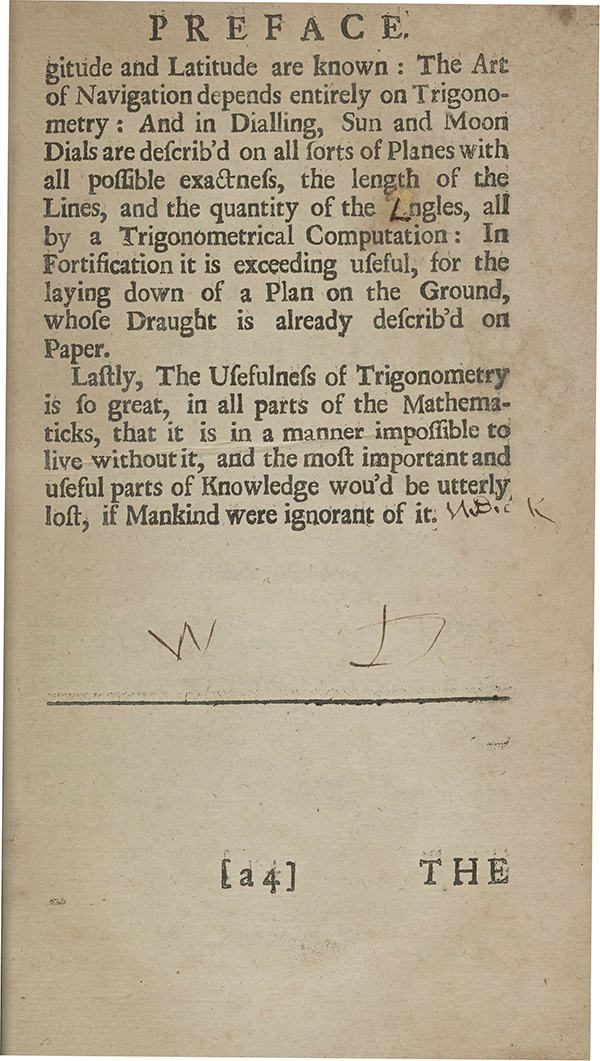 Page 26 of A Complete Course of the Mathematicks (1712).
