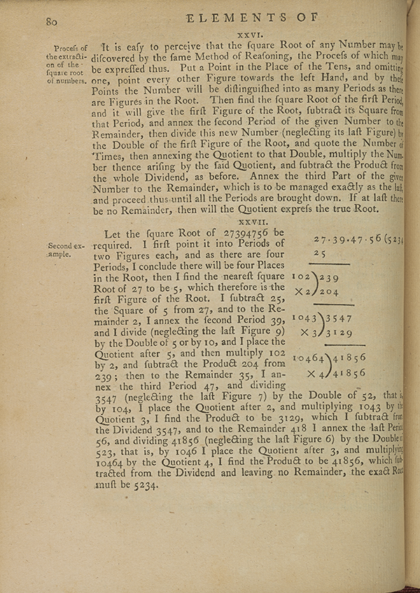 Page 80 of Joseph Fenn's 1767 algebra textbook.