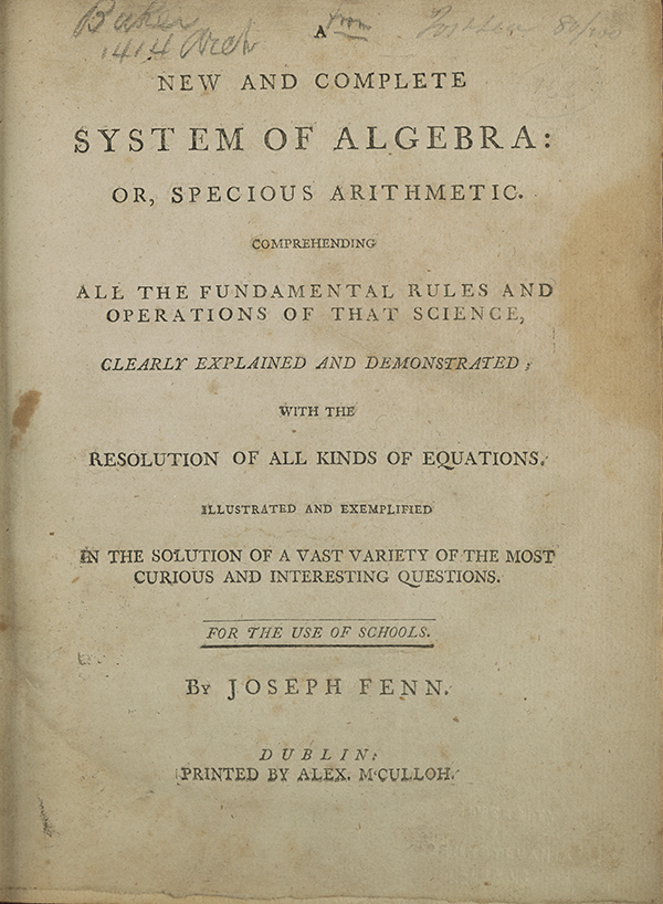 Title page for Joseph Fenn's 1767 algebra textbook.