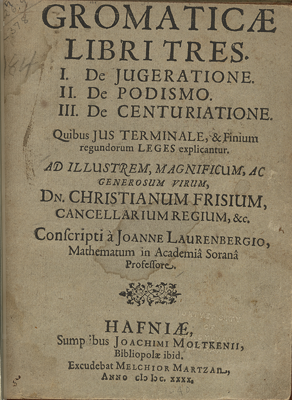 Title page of Lauremberg's Three Books on Surveying (1640).