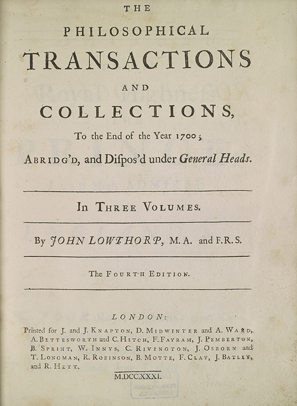 Title page from 1705 collection of mathematical papers from Philosophical Transactions.