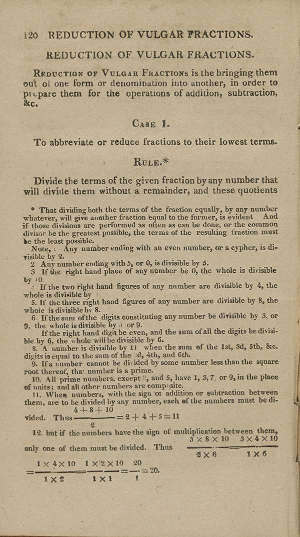 Page 120 of John Bonnycastle's arithmetic textbook.
