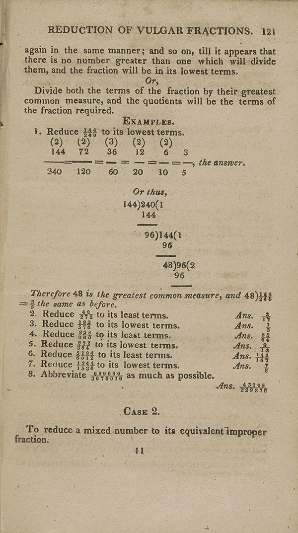 Page 121 of John Bonnycastle's arithmetic textbook.