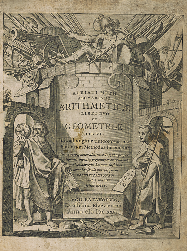 Title page of Adrian Metius's 1626 algebra and geometry textbook.
