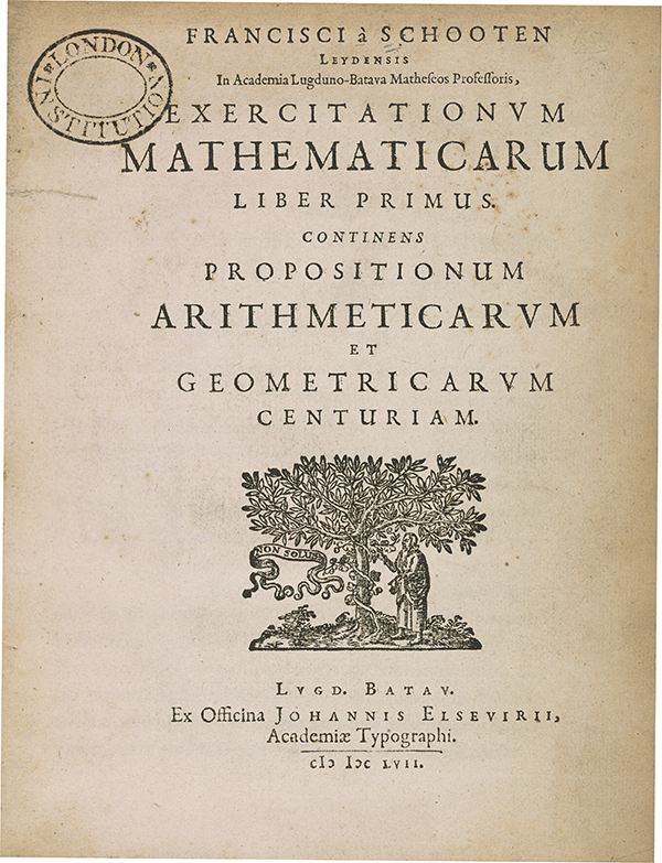 Title page of Frans van Schooten's 1657 Mathematical Exercises.