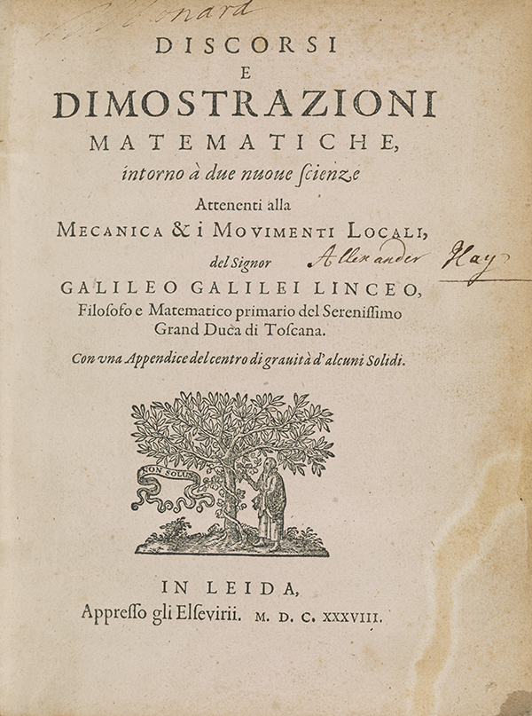 Title page of Galileo's 1638 Two New Sciences.