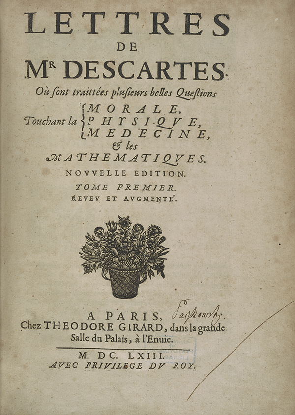 Title page for 1663 edition of Descartes' correspondence with Mersenne.