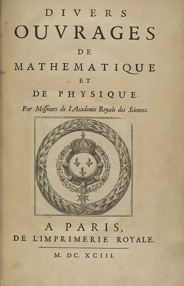 Title page for 1693 volume published by the French Academy of Sciences.