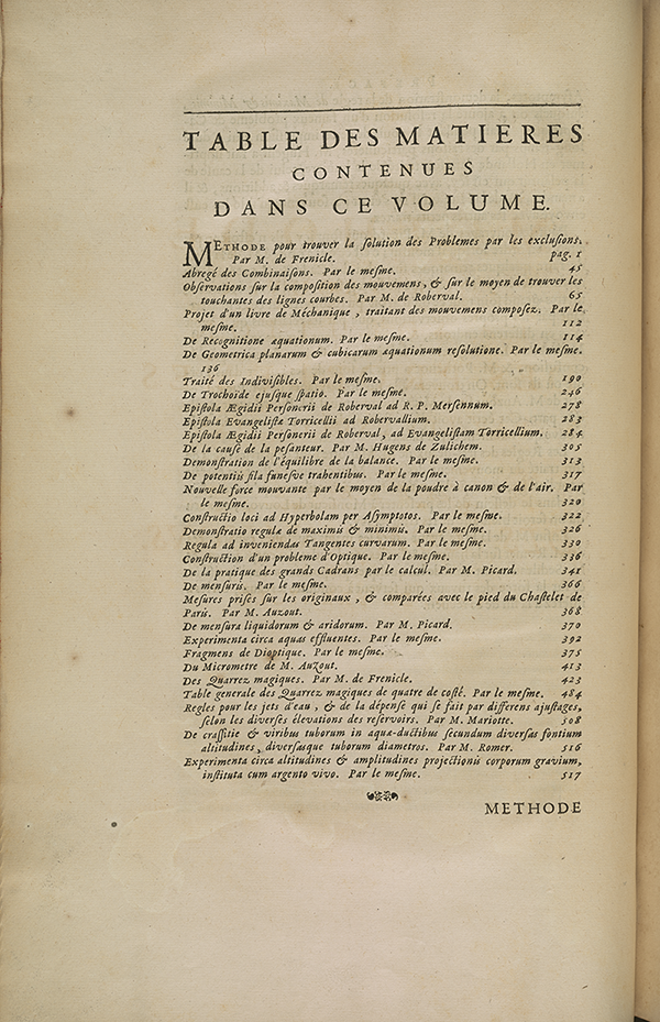 Table of contents from 1693 volume published by French Academy of Sciences.