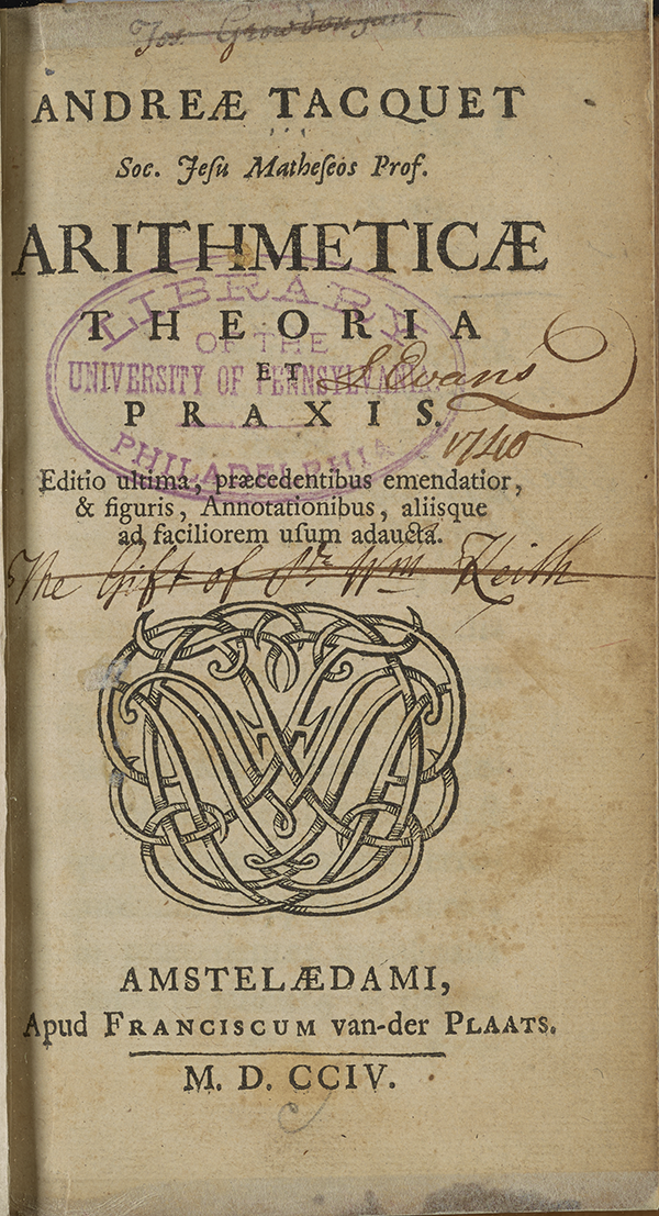 Title page of Tacquet's arithmetic.