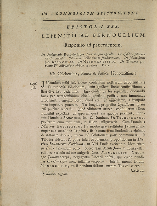 Page 182 of correspondence between Leibniz and Johannes Bernoulli.