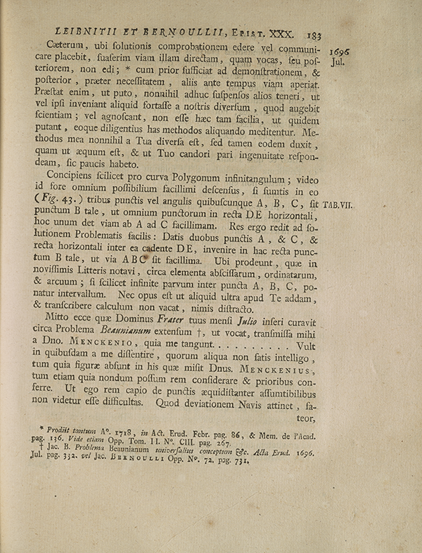 Page 183 of correspondence between Leibniz and Johannes Bernoulli.