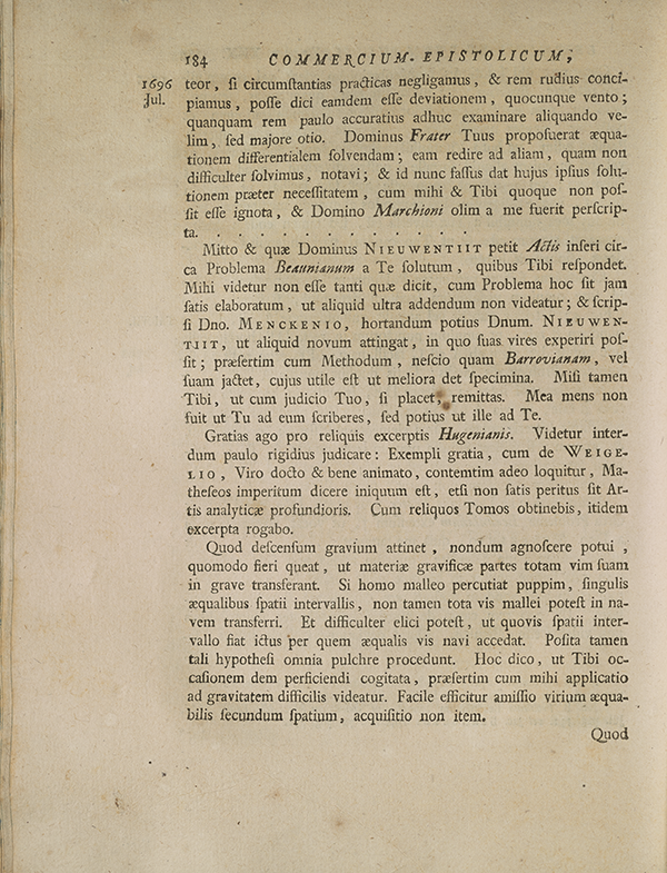 Page 184 of correspondence between Leibniz and Johannes Bernoulli.
