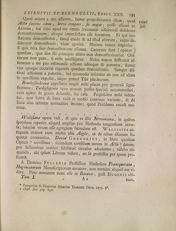 Page 185 of correspondence between Leibniz and Johannes Bernoulli.