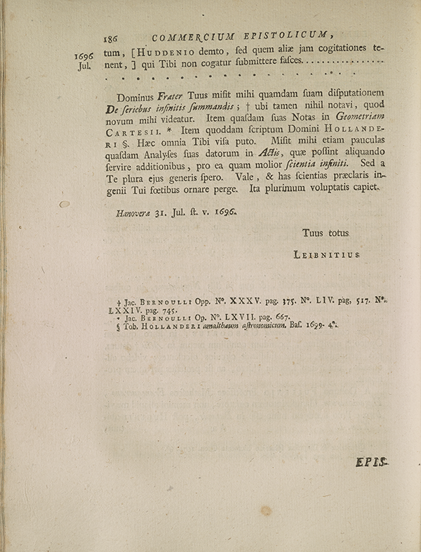 Page 186 of correspondence between Leibniz and Johannes Bernoulli.