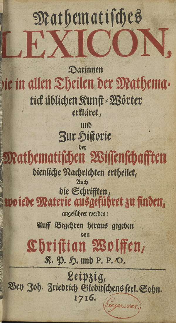 Title page of Wolff's Mathematical Lexicon.