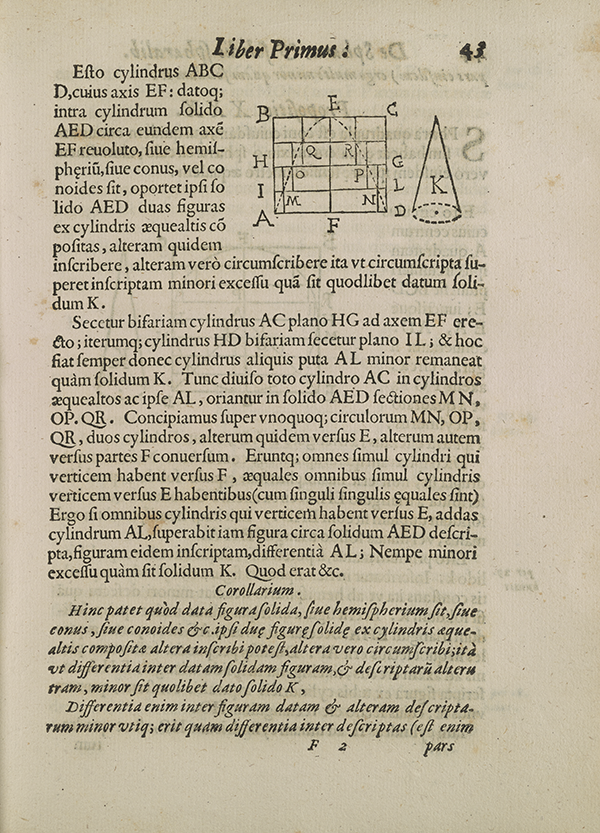 Page 43 from Torricelli's 1644 treatise on geometry.