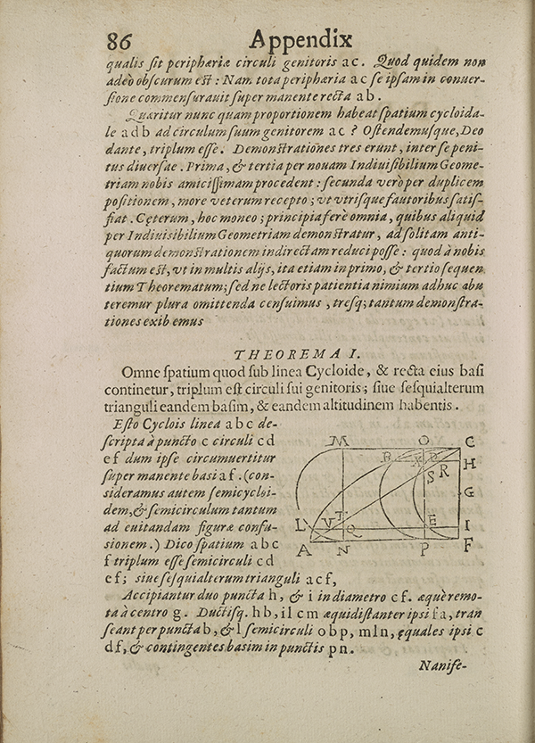 Appendix page 86 from Torricelli's 1644 treatise on geometry.