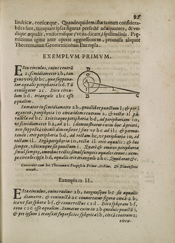 Page 95 from Torricelli's 1644 treatise on geometry.
