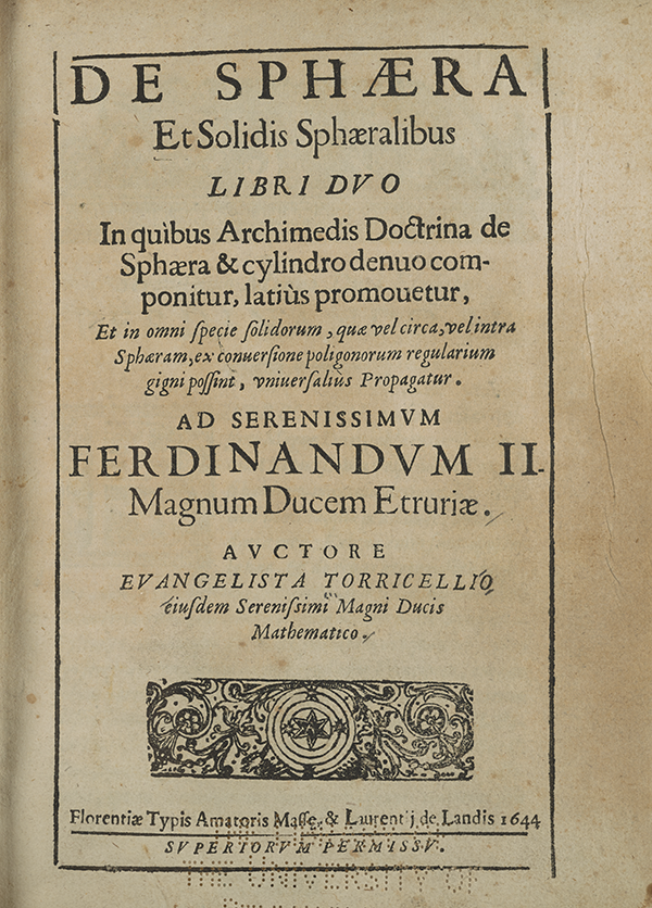 Title page from Torricelli's 1644 treatise on geometry.