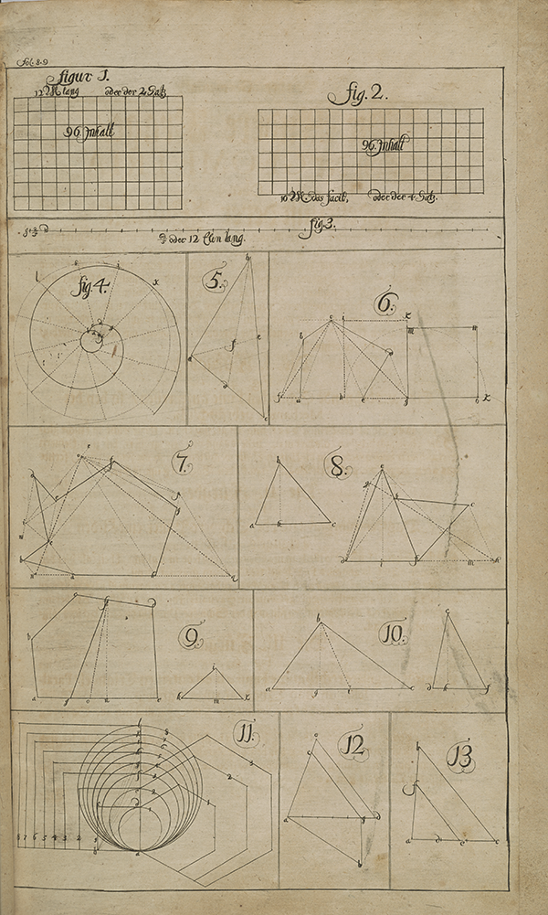 Table accompanying page 8 of Schessler's Mathematical Demonstrations.