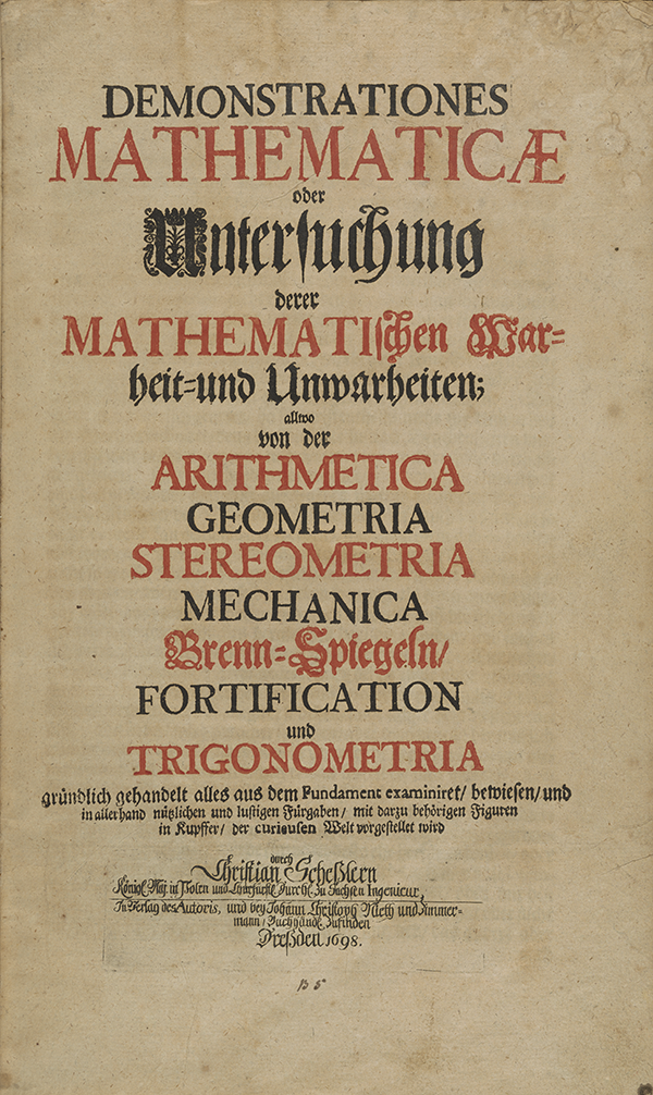 Title page for Schessler's Mathematical Demonstrations (1698).