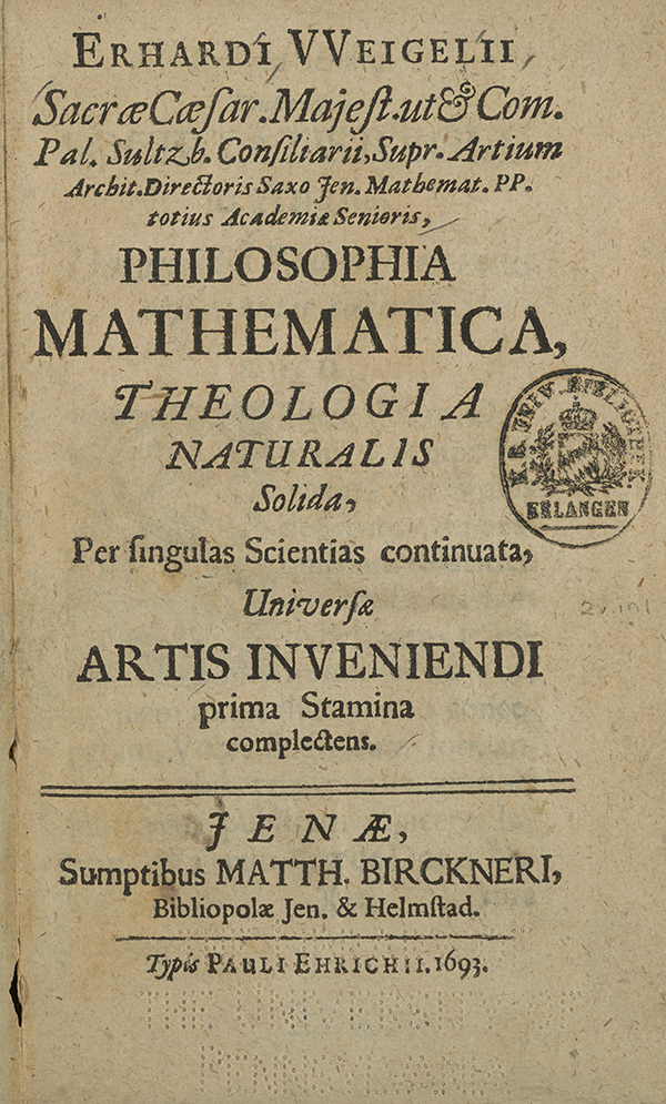 Title page for Erhard Weigel's 1693 Philosophy of Mathematics.