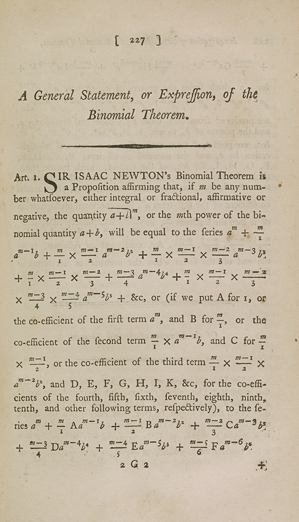 Page 227 of Maseres's treatise, describing the binomial theorem.