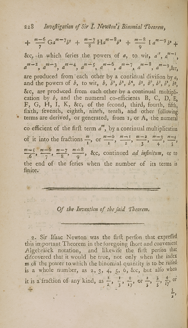 Page 228 of Maseres's treatise, describing the binomial theorem.