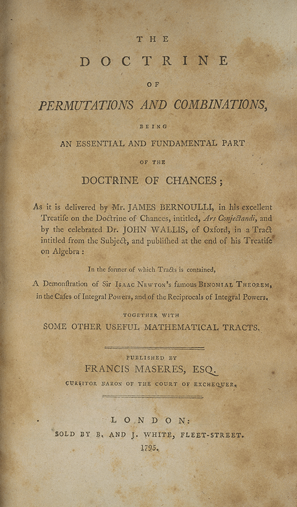 Title page for Maseres's 1795 treatise on permutations and chance.