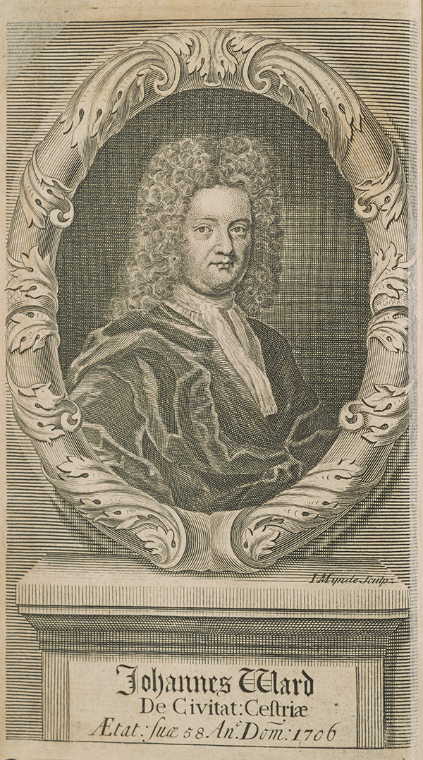 Frontispiece for Young Mathematician's Guide with John Ward's portrait.