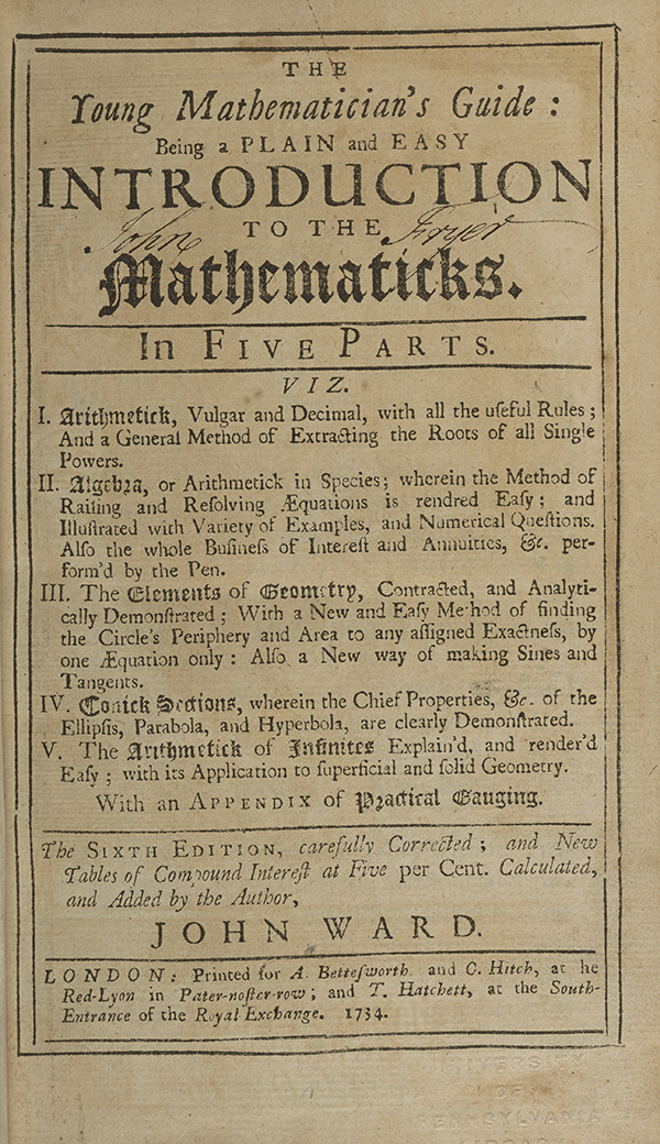 Title page for John Ward's Young Mathematician's Guide.