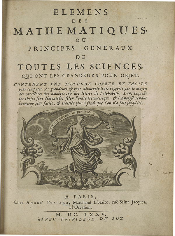 Title page from Jean Prestet's 1675 Elemens de mathematiques.