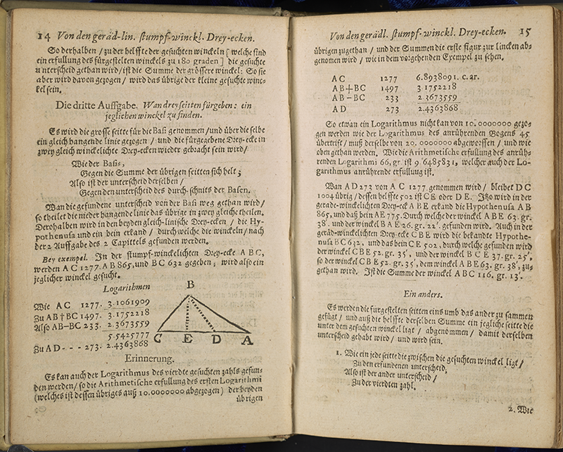 Pages 14 and 15 of Vlacq's trigonometric tables (in German).