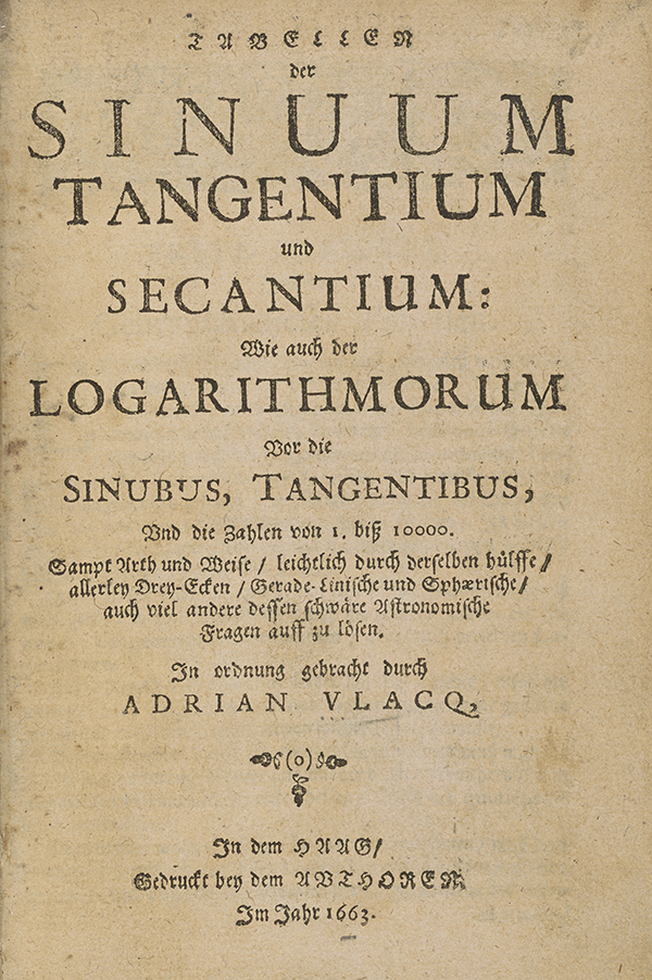 Title page for Vlacq's trigonometric tables (1636).
