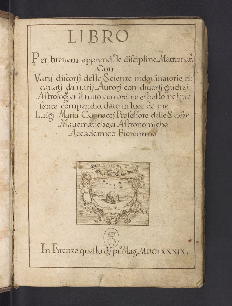 Cover page for Luigi Maria Cagnacci's manuscript on astrology and mathematics, prepared after 1689.