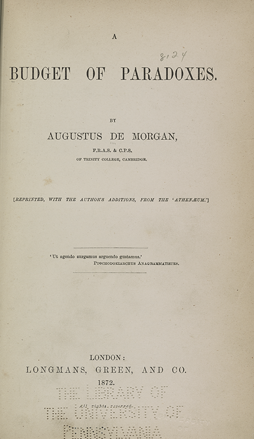 Title page of Augustus De Morgan's Budget of Paradoxes.