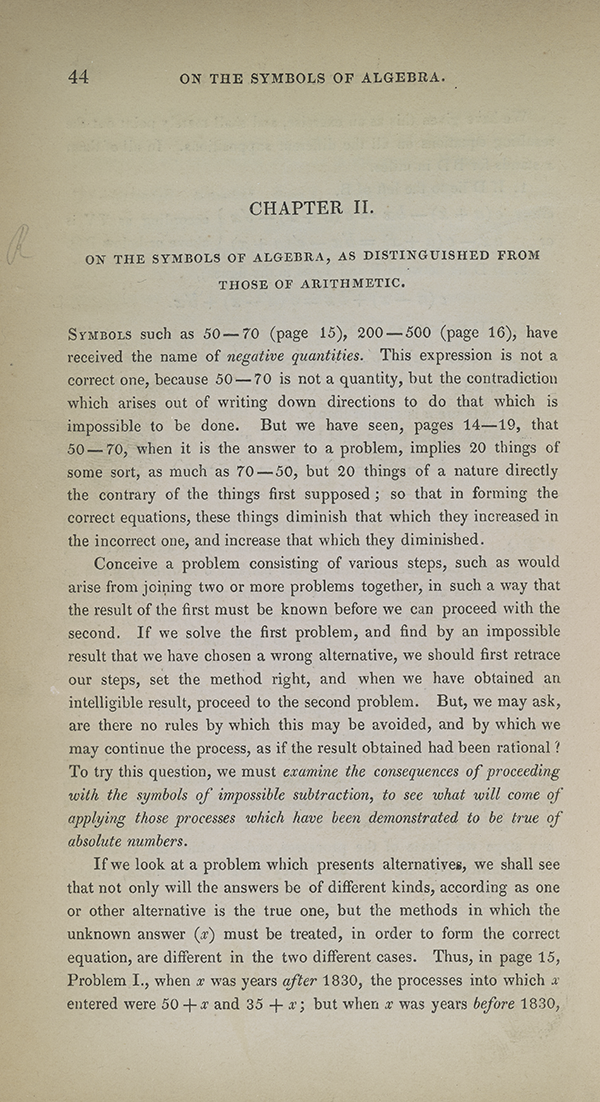 Page 44 of Augustus De Morgan's 1835 Elements of Algebra.