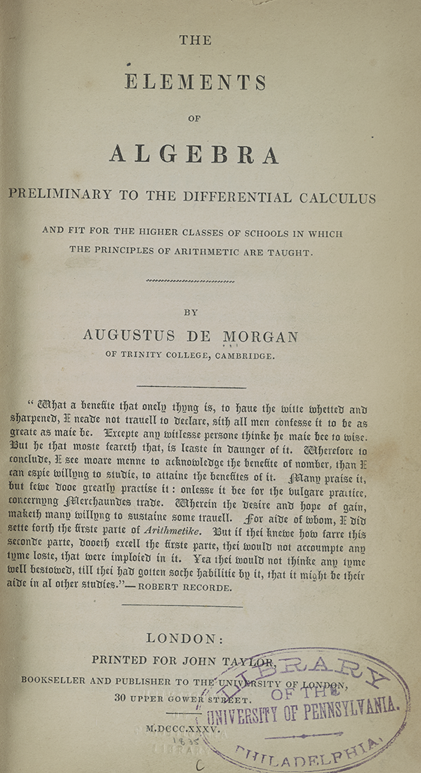 Title page of Augustus De Morgan's 1835 Elements of Algebra.