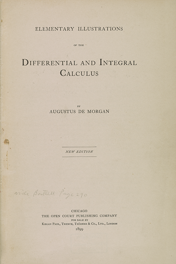 Title page of Augustus De Morgan's 1832 guide to calculus.