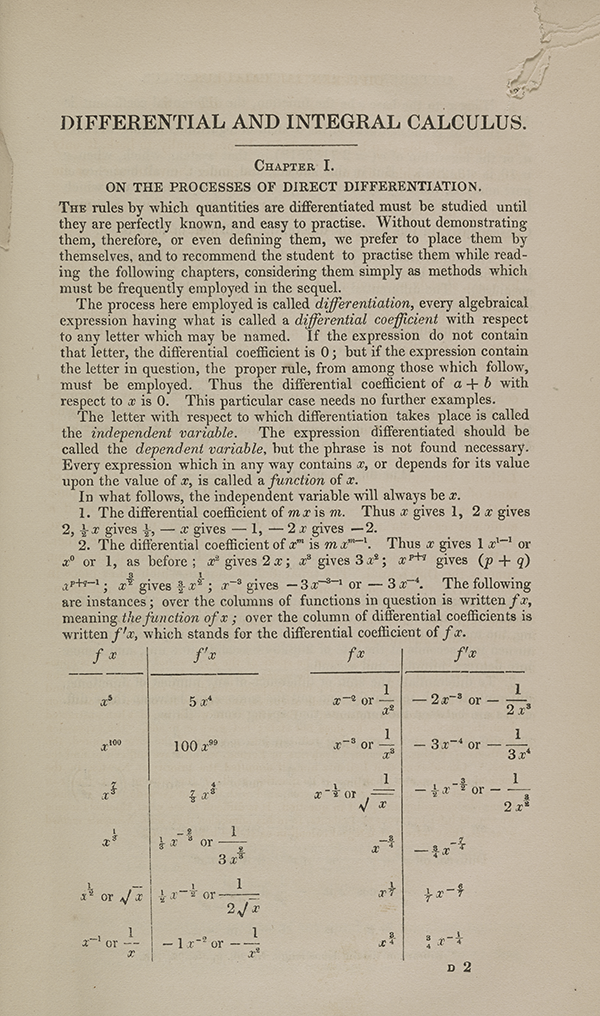 Page 117 of Augustus De Morgan's 1842 calculus textbook.