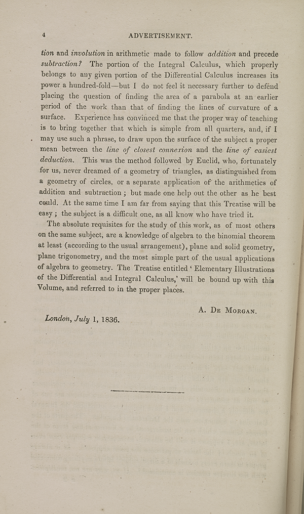 Page 4 of Augustus De Morgan's 1842 calculus textbook.