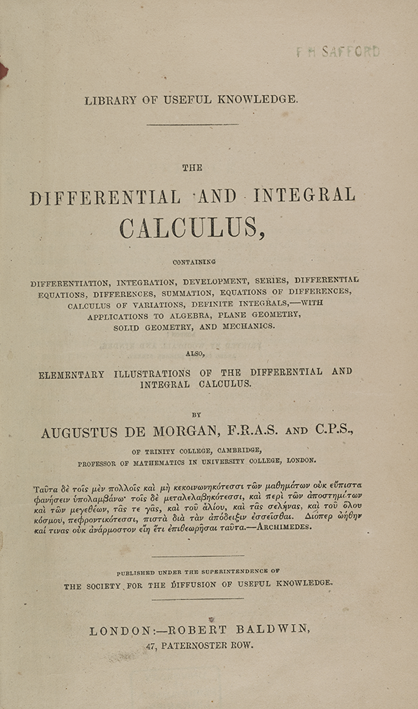 Title page of Augustus De Morgan's 1842 calculus textbook.