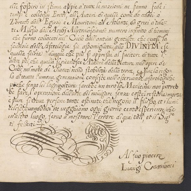 Autograph folio from Luigi Maria Cagnacci's manuscript on astrology and mathematics, prepared after 1689.